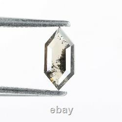 0.35 CT Salt and Pepper Elongated Hexagon Natural Loose Diamond for Wedding ring