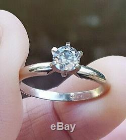 0.50ct Natural Grey Salt & Pepper Silver Diamond Engagement 14K white gold ring