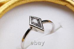 1.05Ct Natural Black Kite Shape Rose Cut Diamond Ring Salt & Pepper Diamond Ring