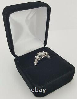 1.17 ct 18k White Gold Three 3 Stone Salt & Pepper Round Diamond Engagement Ring
