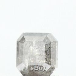 1.26 Carat Natural Loose Diamond White Salt and Pepper Asscher Diamond Rose Cut