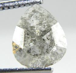 1.33Ct Pear Shape Galaxy Salt & Pepper Transparent Rose Cut Diamond