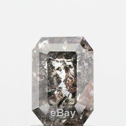 1.44 TCW Natural Diamond Emerald Shape Grey Salt & Pepper Natural Loose Diamond