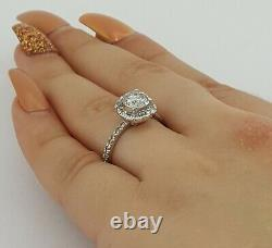 1.47 ct 14k White Gold Salt & Pepper Round Diamond Halo Engagement Ring