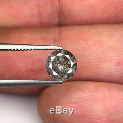 1.51cts 7.5mm Gray Black Natural Loose Salt & Pepper Diamond SEE VIDEO