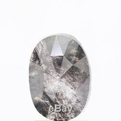 1.54 Carat Natural Salt and Pepper Diamond Gorgeous Oval Rose Cut Loose Diamond