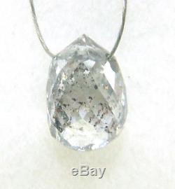 1.56CTS NATURAL GRAY WHITE SALT & PEPPER DROP DIAMOND BRIOLETTE BEAD 7.19x4.90MM