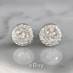1.5ct NATURAL DIAMOND STUD EARRINGS RUSTIC HAMMERED 14K ROUND BEZEL SALT PEPPER
