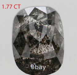 1.77 Ct Natural Loose Diamond Cushion Black Grey Salt And Pepper 7.92 MM KDL7856