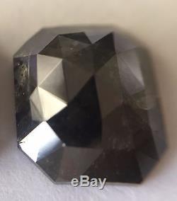 1.77 ct Natural Dark Gray Emerald Shape Salt Pepper Excellent Rosecut Diamond