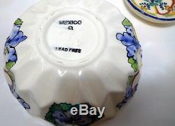 13 pcs Talavera Porcelain Mexican Q Pottery Lot Bowls Dishes Salt Pepper Butter