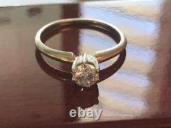 14K Gold Salt and Pepper. 45 CT Natural Diamond Solitaire Ring Sz 7.5 #200-1