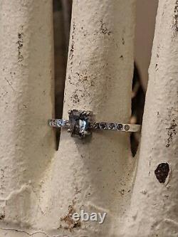 14k White Gold Salt & Pepper Diamond Coffin Gothic Engagement Ring