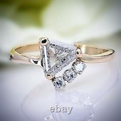 14kt Yellow Gold Custom Made Trillion Triangle Salt & Pepper Diamond Retro Ring