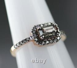 18 K Gold Metal Black Gray Salt And Pepper Square Emerald Shape Diamond Ring