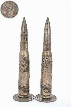 1914 Chinese Silver Bullet Dragon Yuan Coin Trench Art Military Salt & Pepper