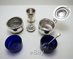 1930s Art Deco 3-Piece Sterling SILVER Salt Pepper Shaker Mustard Pot CRUET SET