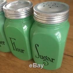 1930s Vintage Rare Anchor Hocking Fired On Jadeite Sugar Flour Salt Pepper Set