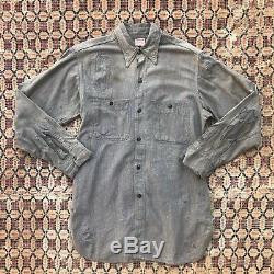 1940s Salt And Pepper Chambray Shirt Wearmaster Sturdy Oak Workwear 40s Shirt