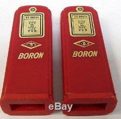 1950's DX BORON Cedar Rapids matched GAS PUMP salt & pepper shakers set