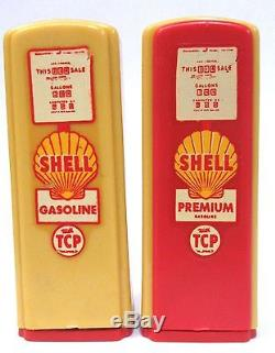 1950's SHELL red/yellow DECAL pair of matched GAS PUMP salt & pepper shakers