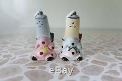 1950s 1940s PY Japan Salt Pepper S P Shaker Toothpaste Anthropomorphic