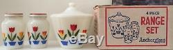1950s FIRE KING TULIP RANGE SET GREASE JAR SALT & PEPPER SHAKERS With ORIGINAL BOX