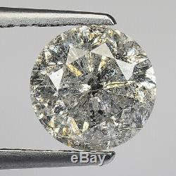 2.49cts 8.3mm Dark Gray Salt & Pepper Natural Loose Diamond SEE VIDEO
