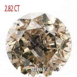 2.82 CT Natural Loose Diamond Round Brown Salt And Pepper Color 8.72 MM KDL9215