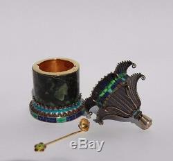2 Vintage Chinese filigree silver enamel pagodas for salt and pepper