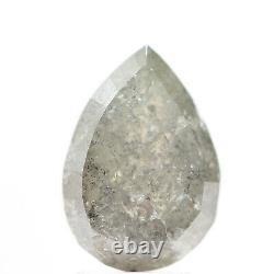 3.41 Carat Natural Diamond Pear Rose Cut Gray Salt And Pepper Loose Diamond