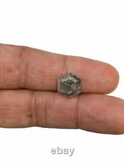 3.63ct Hexagon Rose Cut Salt and Pepper Diamond