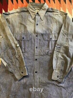 30s 40s Wards Super Pioneer Sanforized Blue Salt Pepper Chambray Shirt Rare 48