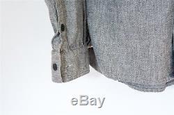 3Sixteen Gray Salt & Pepper Chambray Selvedge Work Shirt, Size Large