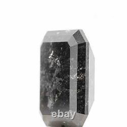 4.11 Carat Salt and Pepper Black Galaxy Emerald Shape Brilliant Natural Diamond