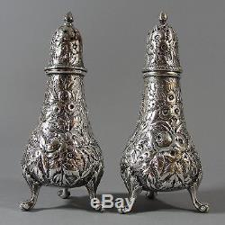 4 Antique Sterling Silver Salt & Pepper Repousse Shakers, 13.22 Troy Oz. NR