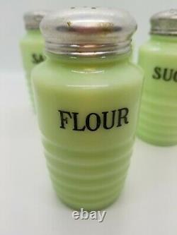 4 Jeanette Jadite Ribbed Shakers w Orig Lids Sugar Flour Salt Pepper