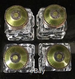 4 Sterling Silver Guilloche Gren Enamel Salt & Pepper Shakers Norway Hroar Prydz
