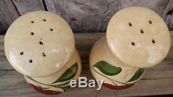 6 Pc Lot Watt Apple Pottery Salt & Pepper Shakers Cream Pitchers Sugar Bowl Lid