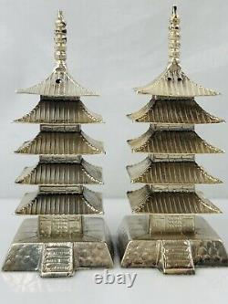 69g Antique Sterling Silver Japanese Pagoda Building Salt and Pepper shakers