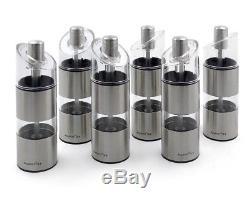 6er Set Gewürzmühlen aus Edelstahl u Acryl BergHoff EASY CLASSIC / Gewürzstreuer