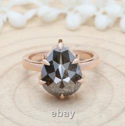 7.99 Ct Salt And Pepper Pear Diamond 14K Solid Rose Gold Engagement Ring KDL8111