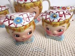 7 Pc Vintage Lefton China Miss Dainty Teaset Teapot Creamer Sugar Salt Pepper