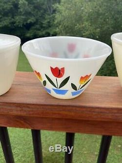 7 Piece VINTAGE FIRE KING TULIPS PIECE MIXING BOWL SET WITH SALT AND PEPPER