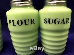 7 shakers range set Jadeite Salt Pepper cinnamon flour sugar all spice garlic
