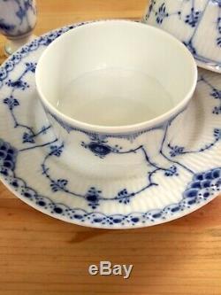 7Pc Royal Copenhagen Blue Fluted Half Lace Round Covered Butter Dish Salt Pepper
