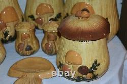 8 pc. Vintage Merry Mushroom Ceramic CANISTER set Salt & Pepper spoon Rest EUC