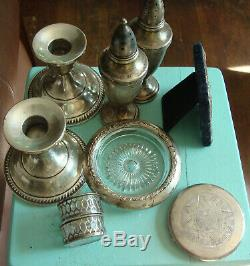 9pc Sterling Silver lot candle salt pepper compact ashtray cellars frame scrap
