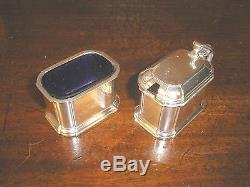 ADIE BROS hallmarked solid SILVER CRUET/SALT/PEPPER/MUSTARD blue glass liners