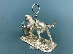 ATQ VTG Silver Plated Dog Figural Cut Crystal Salt & Pepper Shaker Cruet Set